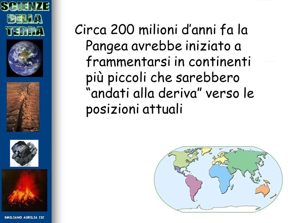 Circa 200 milioni danni fa la Pangea avrebbe iniziato a frammentarsi in continenti più piccoli che sarebbero andati alla deriva verso le posizioni att