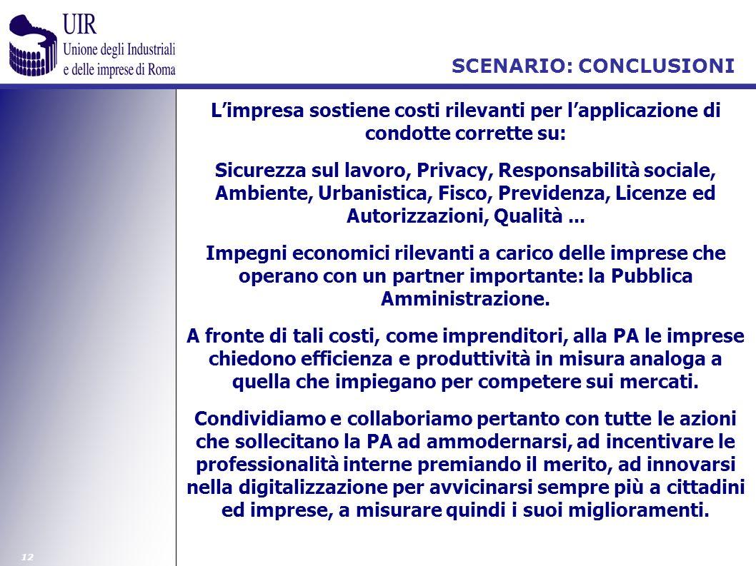 12 SCENARIO: CONCLUSIONI Limpresa sostiene costi rilevanti per lapplicazione di condotte corrette su: Sicurezza sul lavoro, Privacy, Responsabilità so