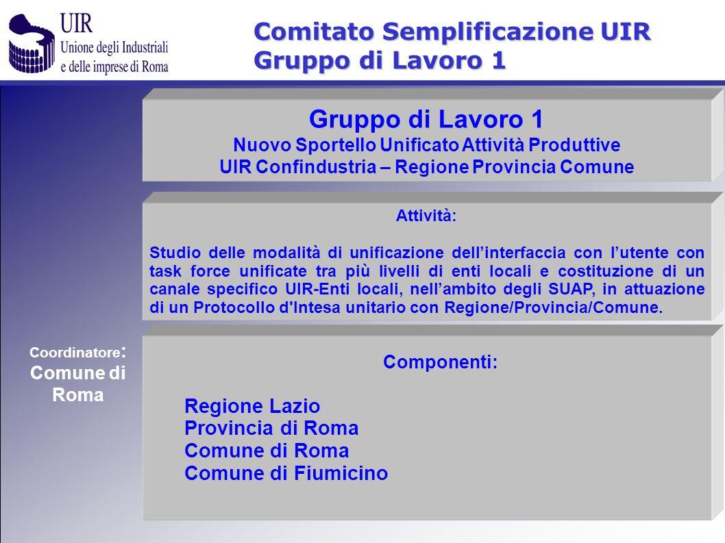 Comitato Semplificazione UIR Gruppo di Lavoro 1 Componenti: Regione Lazio Provincia di Roma Comune di Roma Comune di Fiumicino Attività: Studio delle
