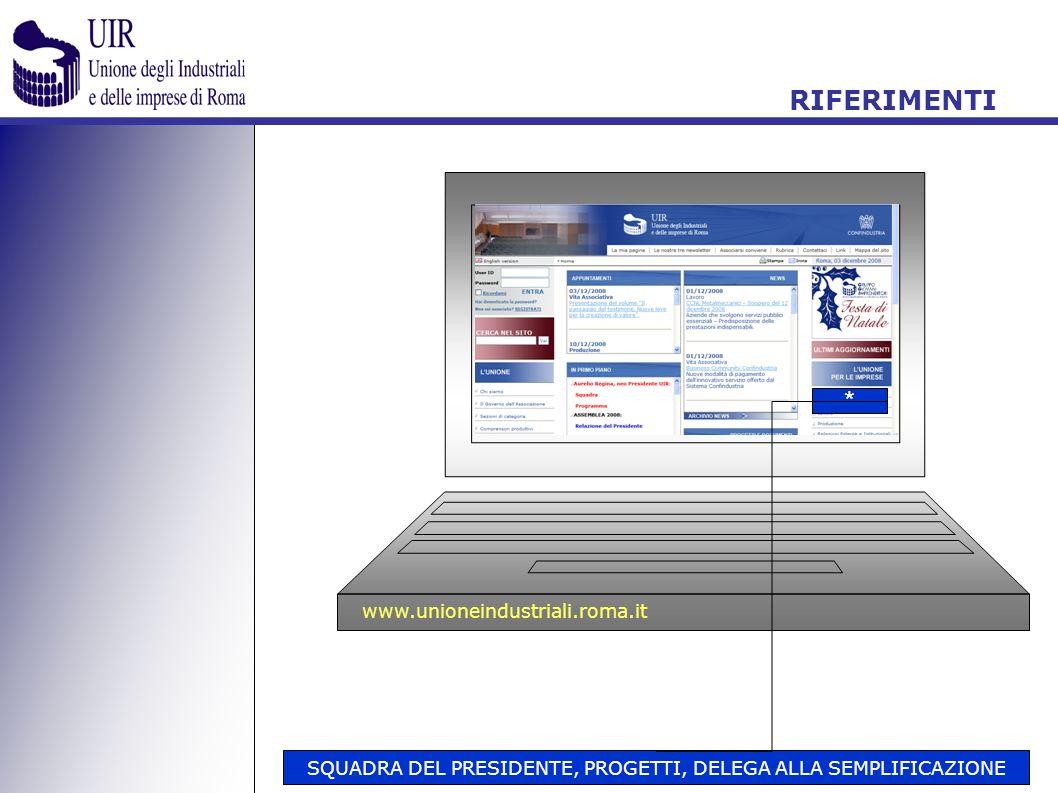 SQUADRA DEL PRESIDENTE, PROGETTI, DELEGA ALLA SEMPLIFICAZIONE * www.unioneindustriali.roma.it RIFERIMENTI