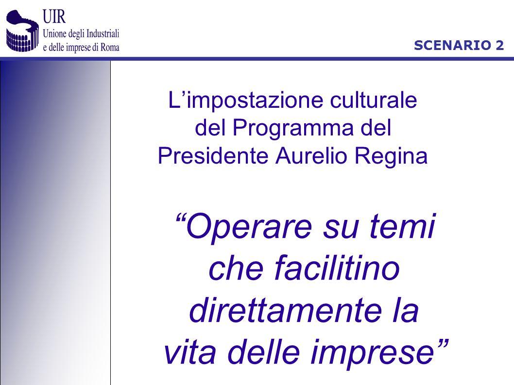 SCENARIO 2 Limpostazione culturale del Programma del Presidente Aurelio Regina Operare su temi che facilitino direttamente la vita delle imprese