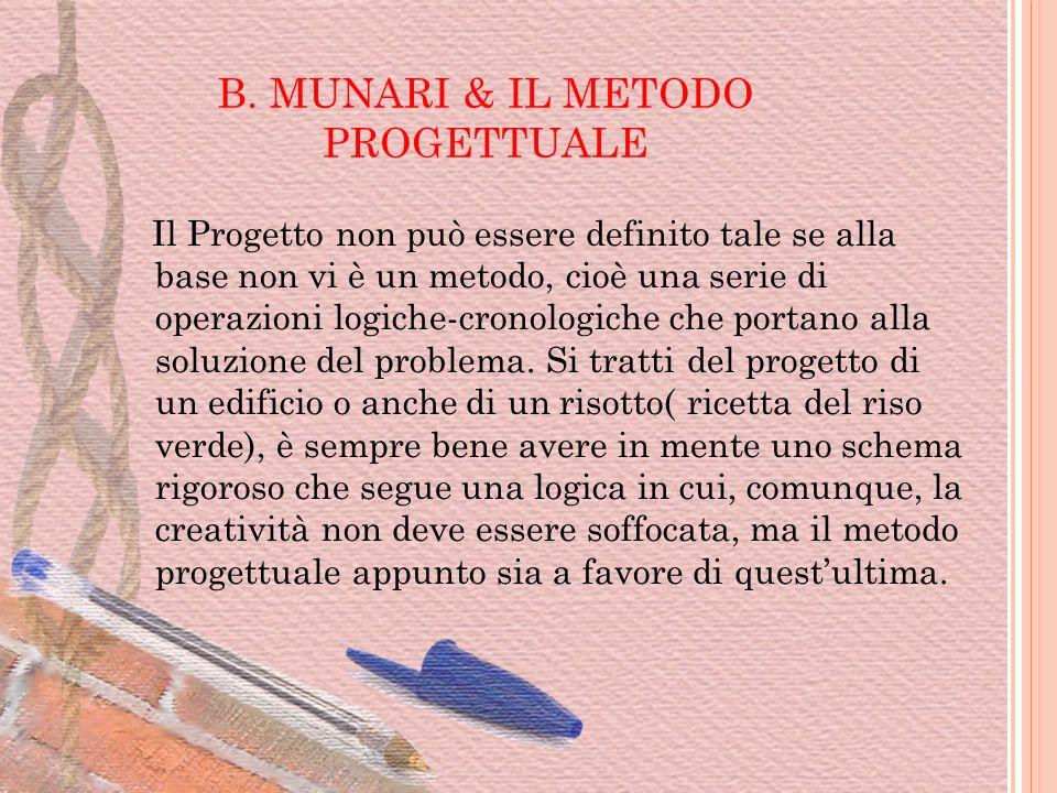 B. MUNARI & IL METODO PROGETTUALE Il Progetto non può essere definito tale se alla base non vi è un metodo, cioè una serie di operazioni logiche-crono