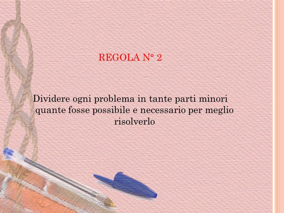 REGOLA N° 2 Dividere ogni problema in tante parti minori quante fosse possibile e necessario per meglio risolverlo