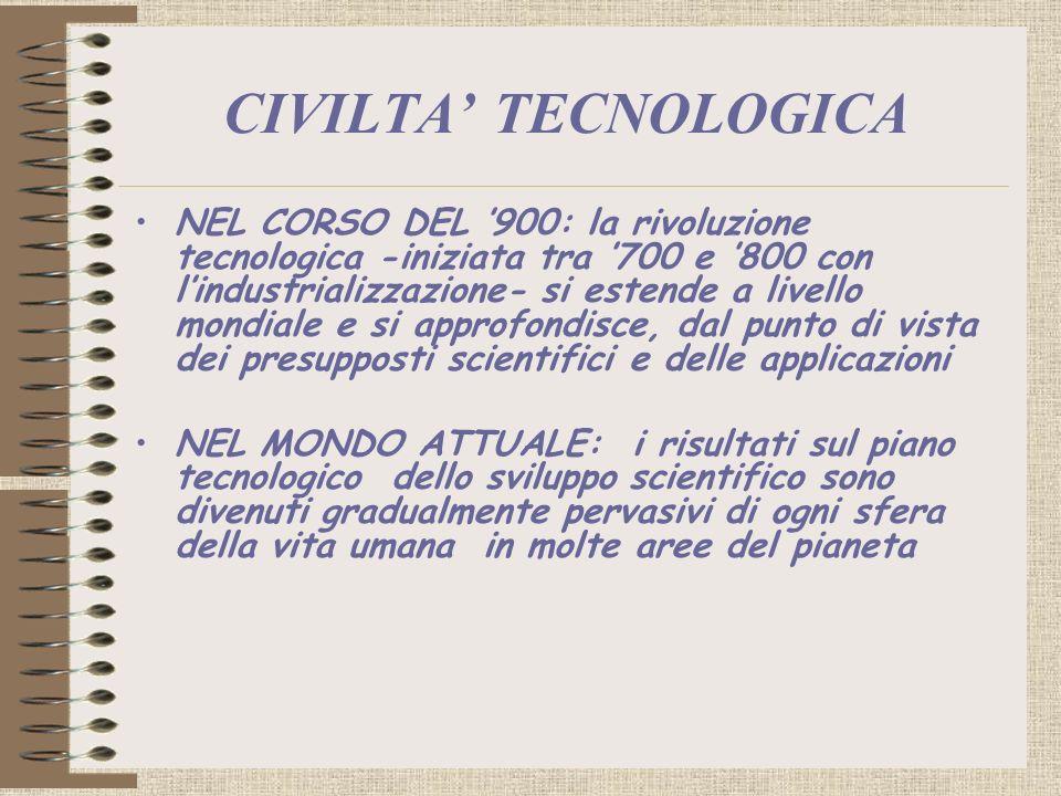 CIVILTA TECNOLOGICA NEL CORSO DEL 900: la rivoluzione tecnologica -iniziata tra 700 e 800 con lindustrializzazione- si estende a livello mondiale e si