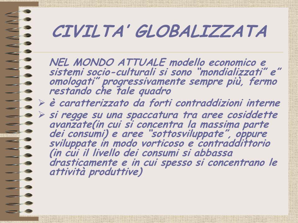 CIVILTA GLOBALIZZATA NEL MONDO ATTUALE modello economico e sistemi socio-culturali si sono mondializzati e omologati progressivamente sempre più, ferm