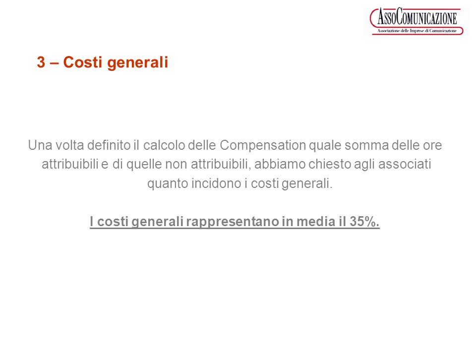 Compensation Costi Generali Massimo 60% 40% Minimo 70% 30% Media 65% 35% Panel associati – Costi Generali