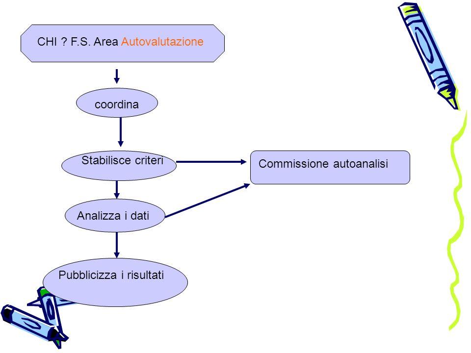 CHI ? F.S. Area Autovalutazionecoordina Stabilisce criteri Analizza i dati Pubblicizza i risultati Commissione autoanalisi