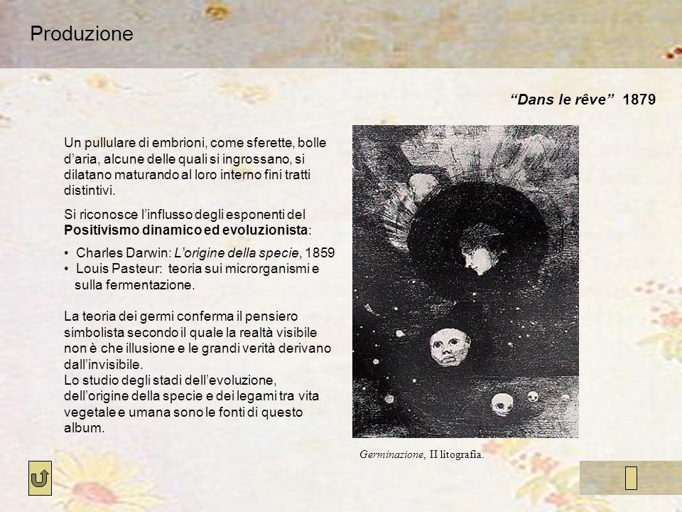 Produzione Dans le rêve 1879 Germinazione, II litografia. Un pullulare di embrioni, come sferette, bolle daria, alcune delle quali si ingrossano, si d