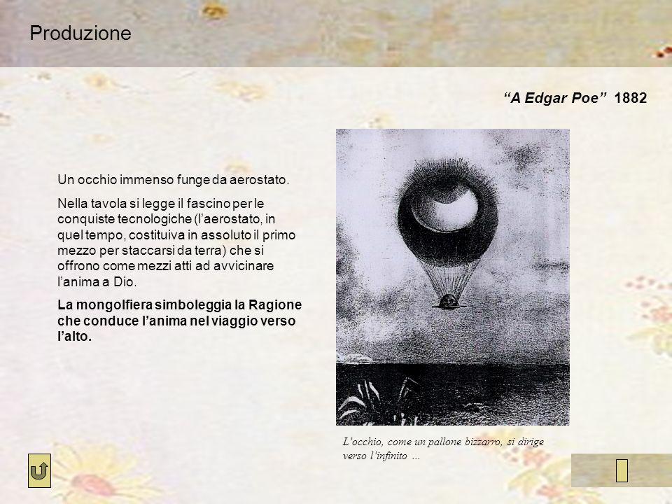 Produzione A Edgar Poe 1882 Locchio, come un pallone bizzarro, si dirige verso linfinito... Un occhio immenso funge da aerostato. Nella tavola si legg