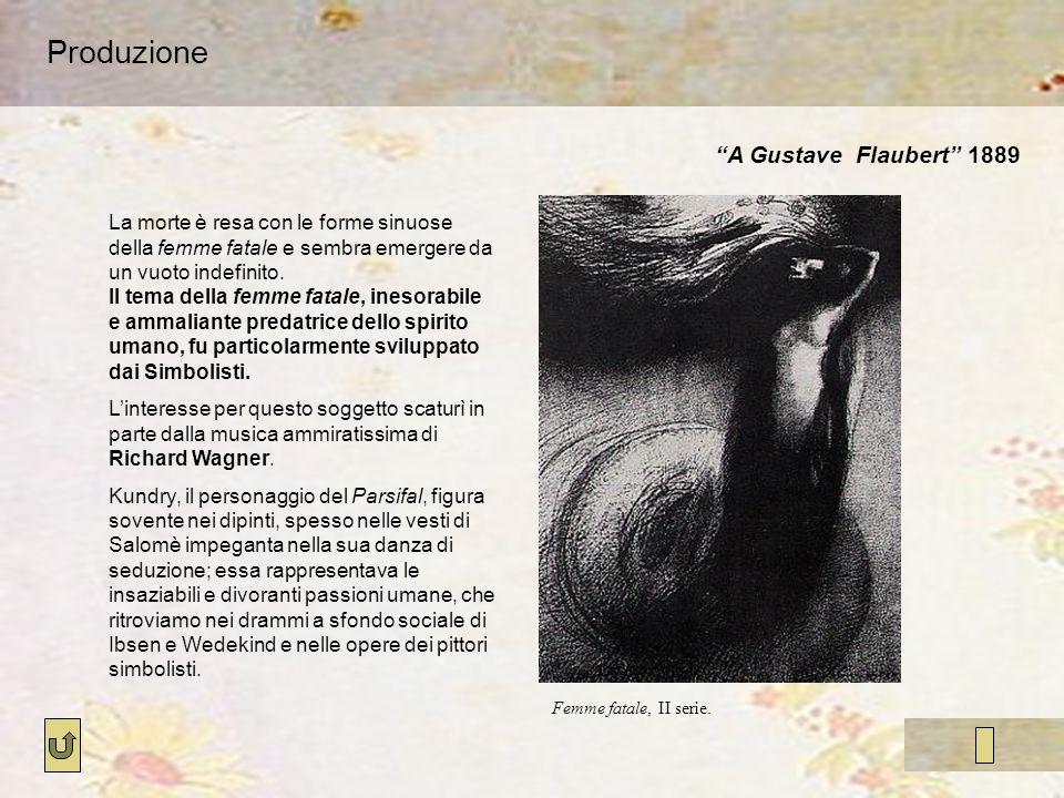 Produzione A Gustave Flaubert 1889 Femme fatale, II serie. La morte è resa con le forme sinuose della femme fatale e sembra emergere da un vuoto indef