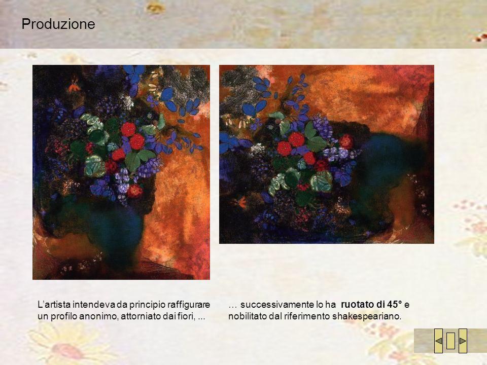 Produzione Lartista intendeva da principio raffigurare un profilo anonimo, attorniato dai fiori,... … successivamente lo ha ruotato di 45° e nobilitat