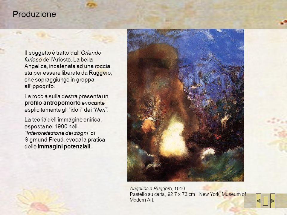 Produzione Angelica e Ruggero, 1910. Pastello su carta, 92.7 x 73 cm. New York, Museum of Modern Art. Il soggetto è tratto dallOrlando furioso dellAri