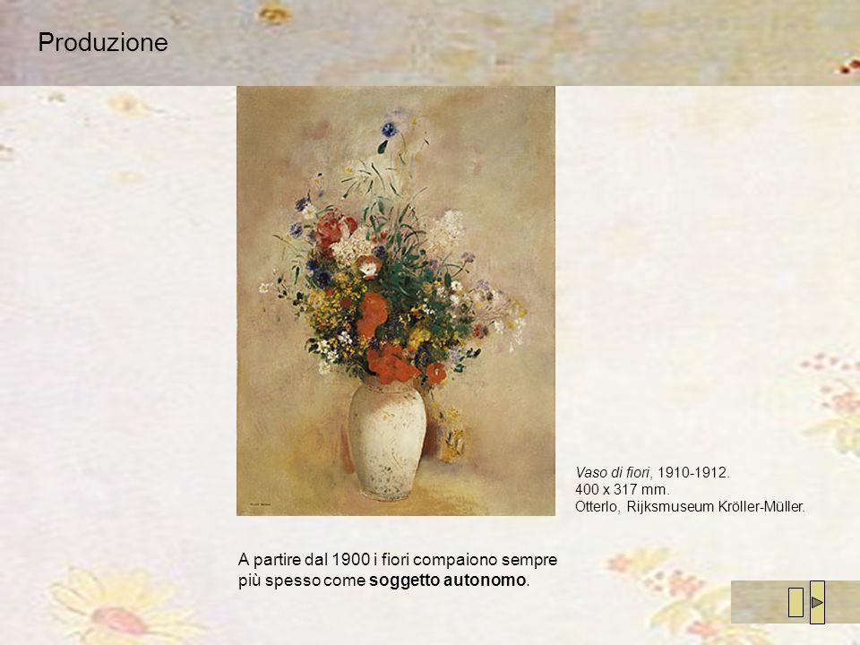 Produzione A partire dal 1900 i fiori compaiono sempre più spesso come soggetto autonomo. Vaso di fiori, 1910-1912. 400 x 317 mm. Otterlo, Rijksmuseum
