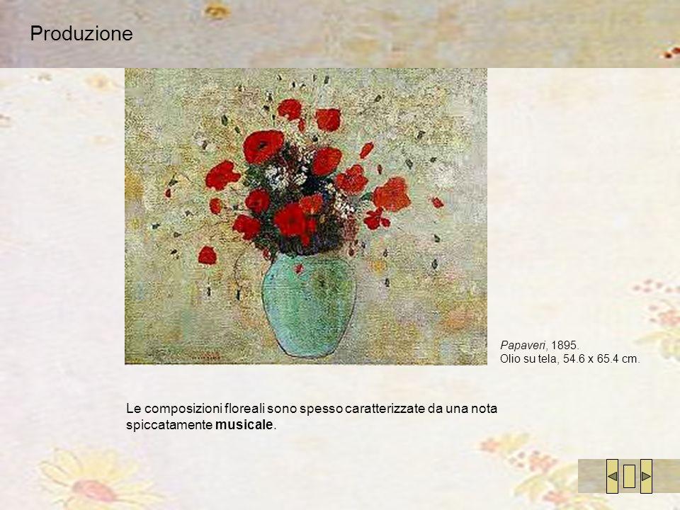 Produzione Le composizioni floreali sono spesso caratterizzate da una nota spiccatamente musicale. Papaveri, 1895. Olio su tela, 54.6 x 65.4 cm.