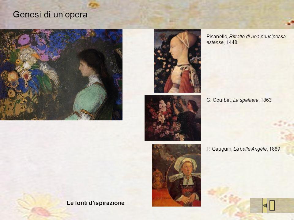 Genesi di unopera Pisanello, Ritratto di una principessa estense, 1448 G. Courbet, La spalliera, 1863 Le fonti dispirazione P. Gauguin, La belle Angèl