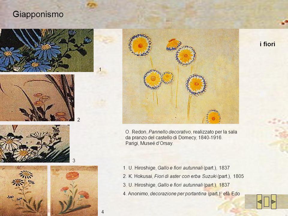 Giapponismo i fiori 1 2 3 4 O. Redon, Pannello decorativo, realizzato per la sala da pranzo del castello di Domecy, 1840-1916. Parigi, Museé dOrsay. 1
