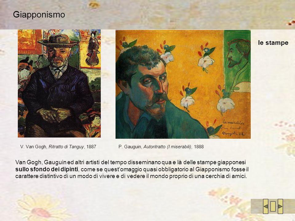 Giapponismo Van Gogh, Gauguin ed altri artisti del tempo disseminano qua e là delle stampe giapponesi sullo sfondo dei dipinti, come se questomaggio q