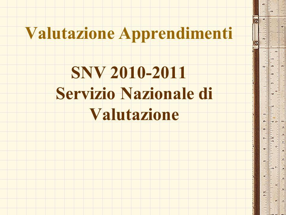 Valutazione Apprendimenti SNV 2010-2011 Servizio Nazionale di Valutazione