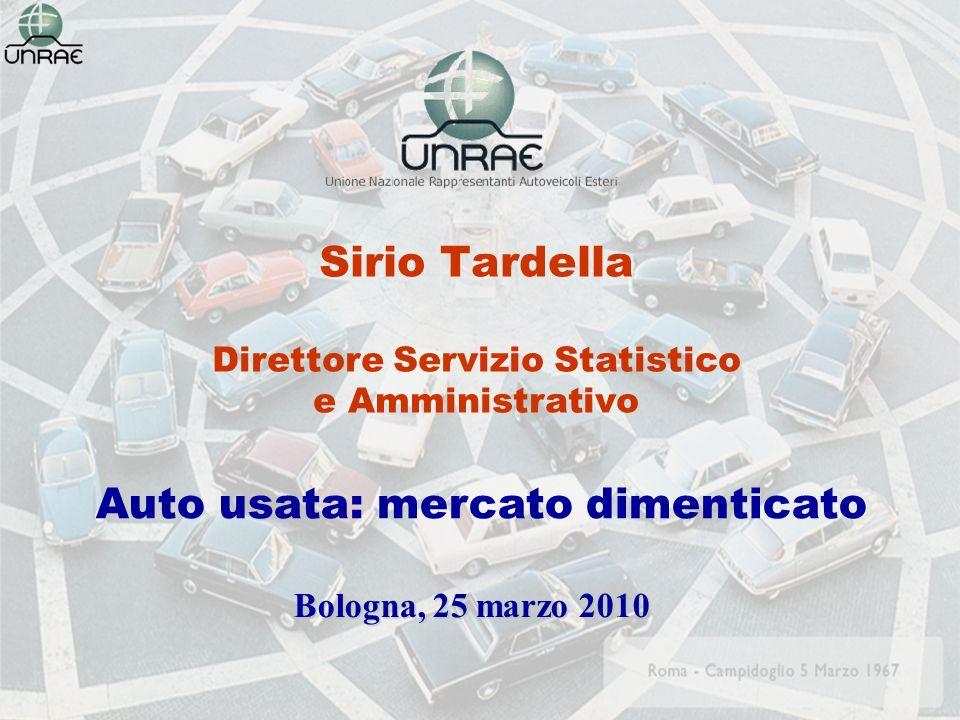 Sirio Tardella Direttore Servizio Statistico e Amministrativo Bologna, 25 marzo 2010 Auto usata: mercato dimenticato