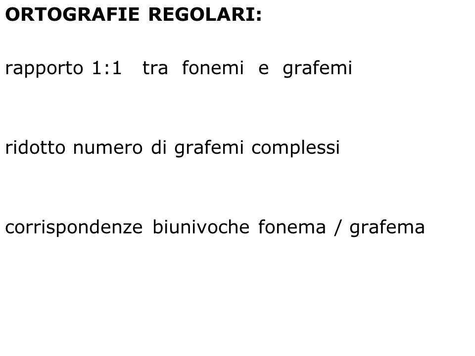 ORTOGRAFIE REGOLARI: rapporto 1:1 tra fonemi e grafemi ridotto numero di grafemi complessi corrispondenze biunivoche fonema / grafema