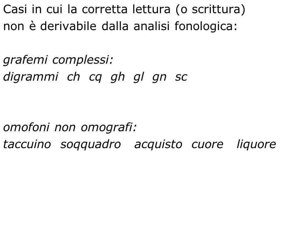Casi in cui la corretta lettura (o scrittura) non è derivabile dalla analisi fonologica: grafemi complessi: digrammi ch cq gh gl gn sc omofoni non omo