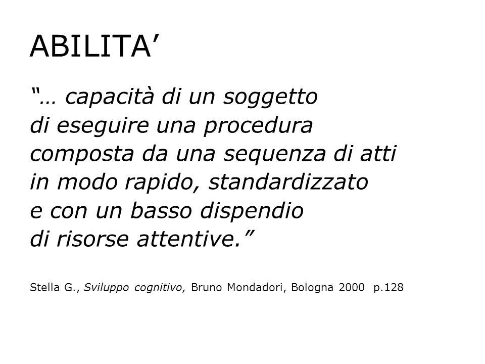 ABILITA … capacità di un soggetto di eseguire una procedura composta da una sequenza di atti in modo rapido, standardizzato e con un basso dispendio d