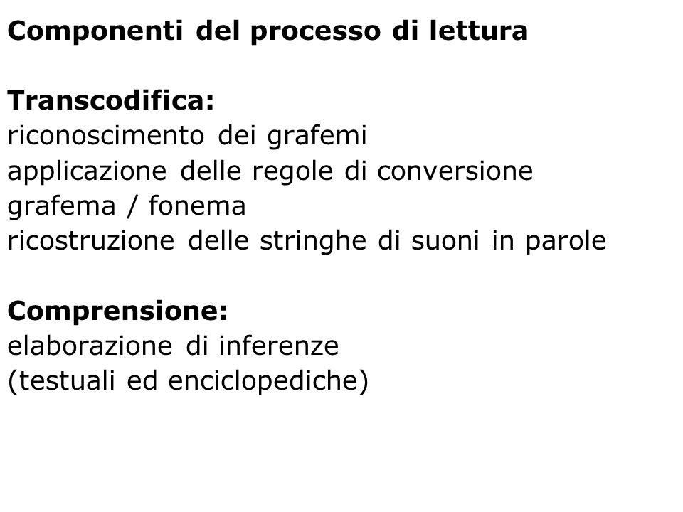 Componenti del processo di lettura Transcodifica: riconoscimento dei grafemi applicazione delle regole di conversione grafema / fonema ricostruzione d