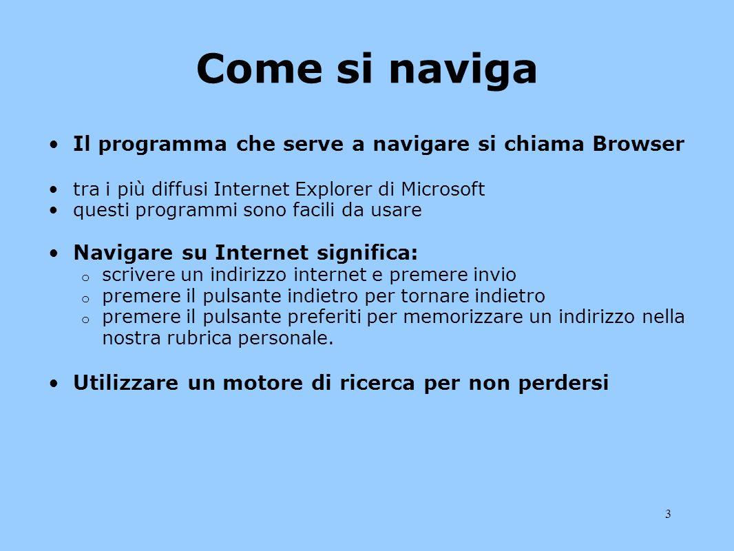 3 Come si naviga Il programma che serve a navigare si chiama Browser tra i più diffusi Internet Explorer di Microsoft questi programmi sono facili da