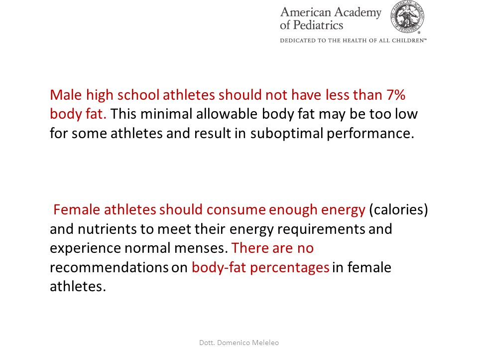 Male high school athletes should not have less than 7% body fat. This minimal allowable body fat may be too low for some athletes and result in subopt