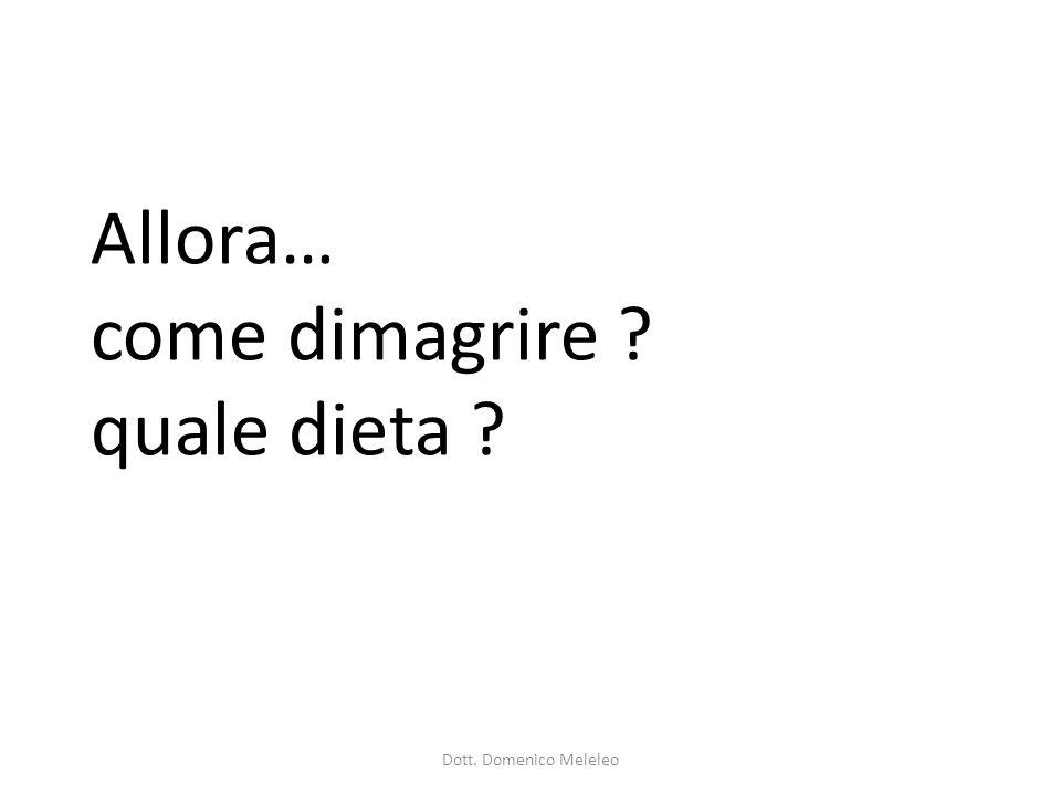 Allora… come dimagrire ? quale dieta ? Dott. Domenico Meleleo