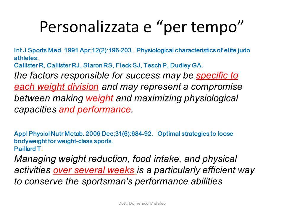 Personalizzata e per tempo Int J Sports Med.1991 Apr;12(2):196-203.