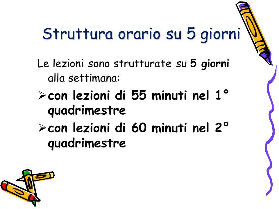 Struttura orario su 5 giorni Le lezioni sono strutturate su 5 giorni alla settimana: con lezioni di 55 minuti nel 1° quadrimestre con lezioni di 60 minuti nel 2° quadrimestre