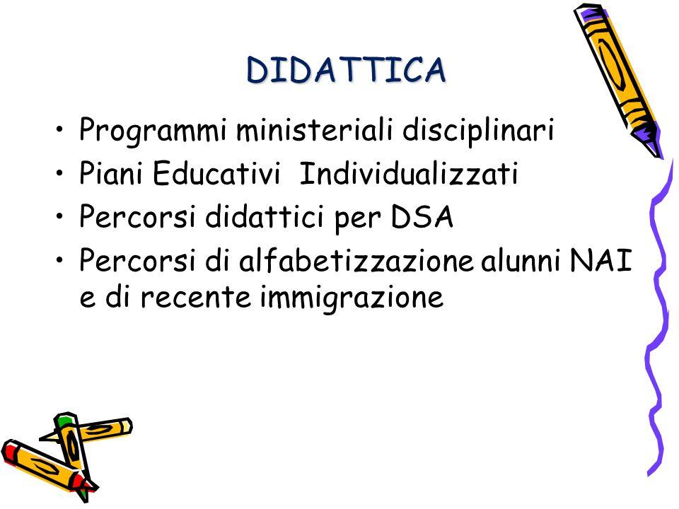DIDATTICA DIDATTICA Programmi ministeriali disciplinari Piani Educativi Individualizzati Percorsi didattici per DSA Percorsi di alfabetizzazione alunni NAI e di recente immigrazione