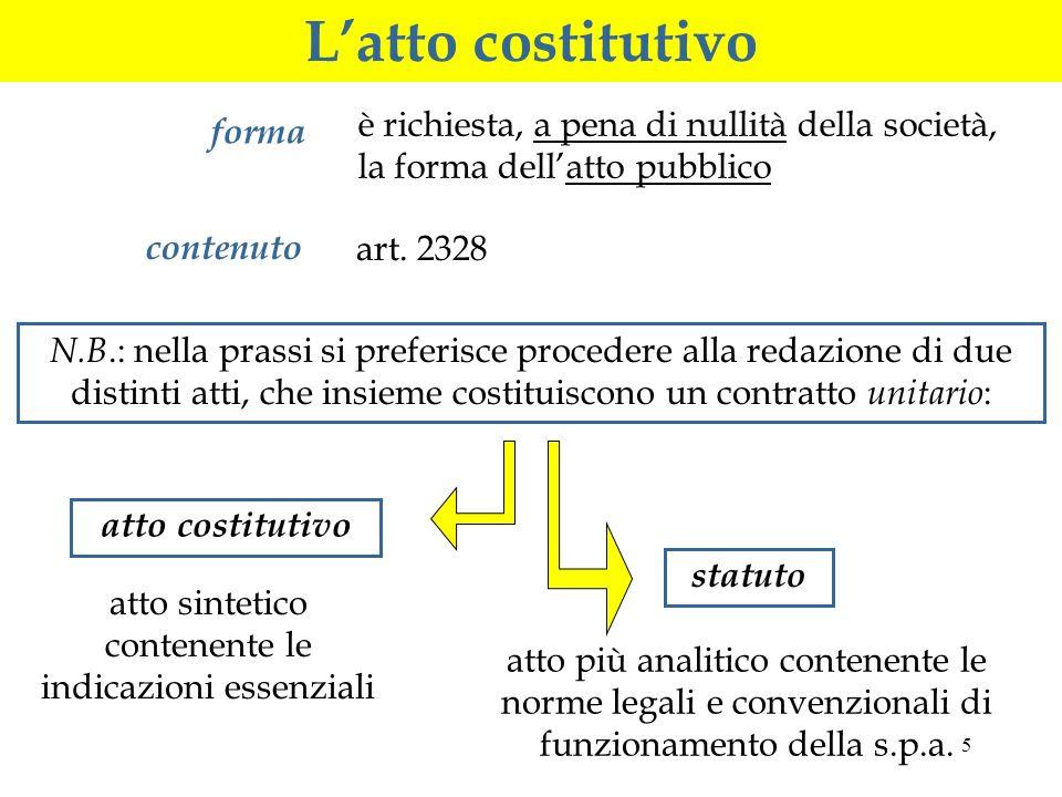 5 Latto costitutivo forma è richiesta, a pena di nullità della società, la forma dellatto pubblico contenuto art.