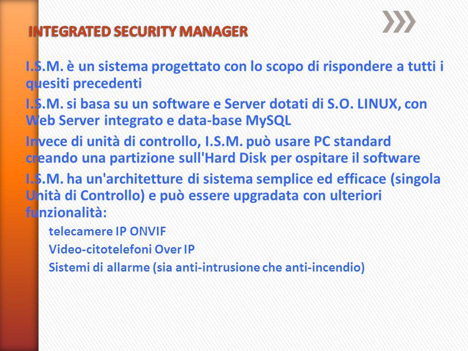 I.S.M. è un sistema progettato con lo scopo di rispondere a tutti i quesiti precedenti I.S.M. si basa su un software e Server dotati di S.O. LINUX, co