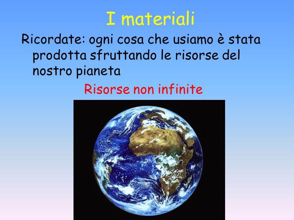 I materiali Ricordate: ogni cosa che usiamo è stata prodotta sfruttando le risorse del nostro pianeta Risorse non infinite