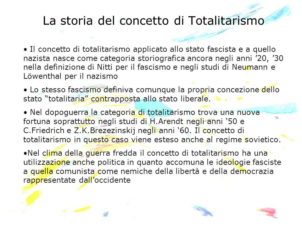 La storia del concetto di Totalitarismo Il concetto di totalitarismo applicato allo stato fascista e a quello nazista nasce come categoria storiografi