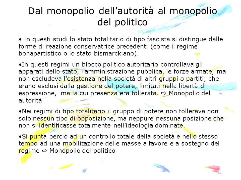 Dal monopolio dellautorità al monopolio del politico In questi studi lo stato totalitario di tipo fascista si distingue dalle forme di reazione conser