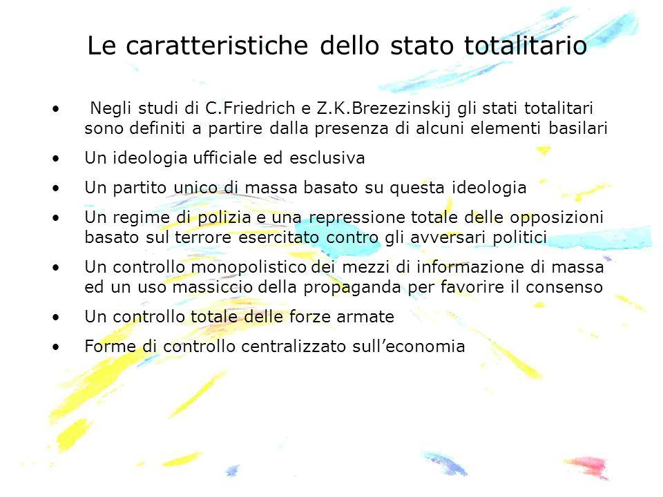 Le caratteristiche dello stato totalitario Negli studi di C.Friedrich e Z.K.Brezezinskij gli stati totalitari sono definiti a partire dalla presenza d