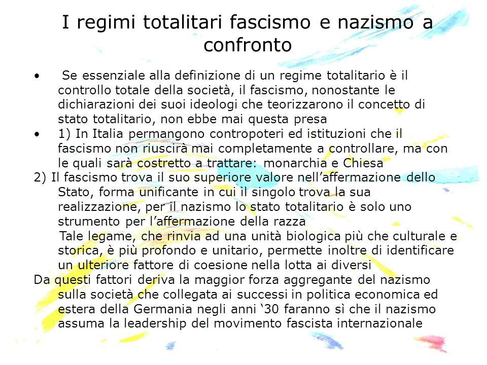 I regimi totalitari fascismo e nazismo a confronto Se essenziale alla definizione di un regime totalitario è il controllo totale della società, il fas