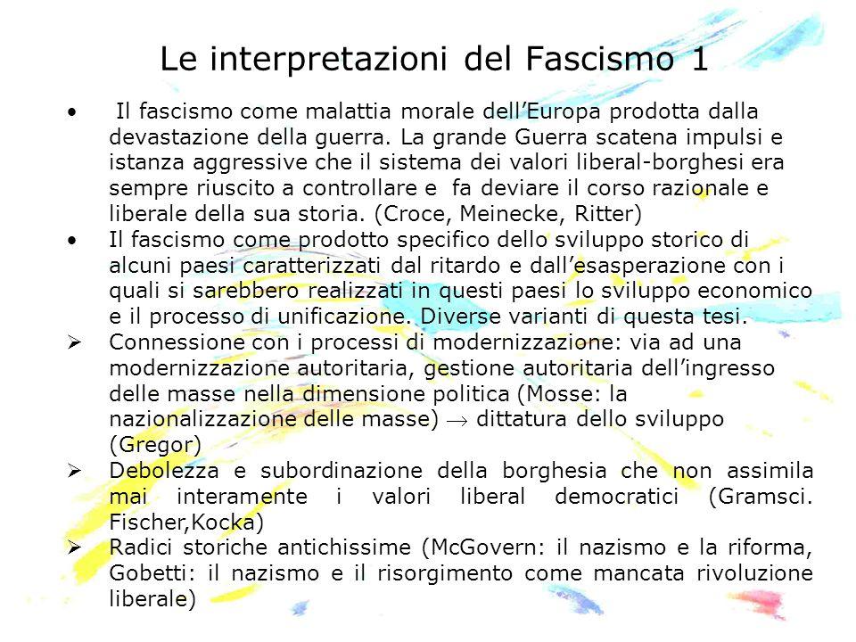 Le interpretazioni del Fascismo 1 Il fascismo come malattia morale dellEuropa prodotta dalla devastazione della guerra. La grande Guerra scatena impul