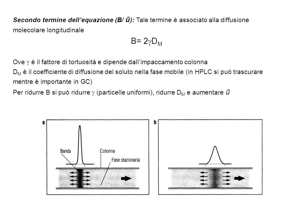Secondo termine dellequazione (B/ ū ): Tale termine è associato alla diffusione molecolare longitudinale B= 2 D M Ove è il fattore di tortuosità e dip