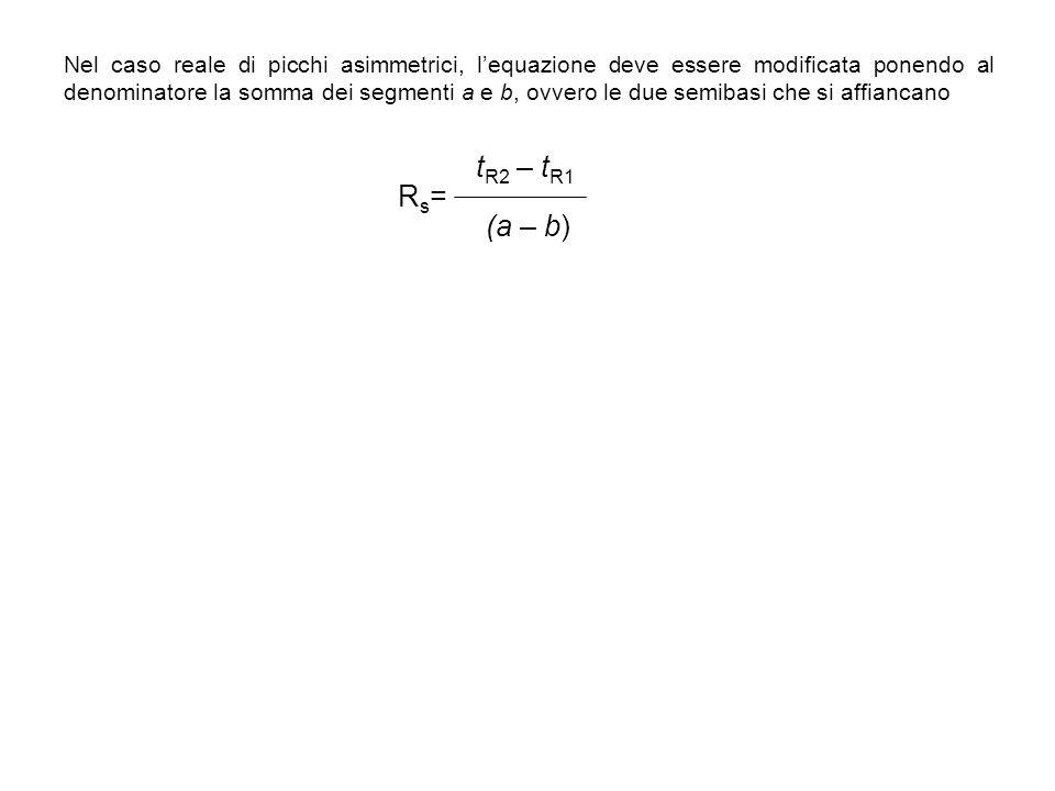 Nel caso reale di picchi asimmetrici, lequazione deve essere modificata ponendo al denominatore la somma dei segmenti a e b, ovvero le due semibasi ch