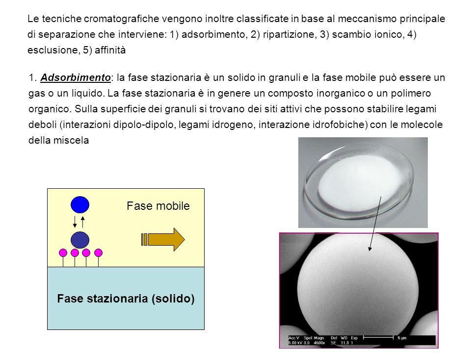 Le tecniche cromatografiche vengono inoltre classificate in base al meccanismo principale di separazione che interviene: 1) adsorbimento, 2) ripartizi