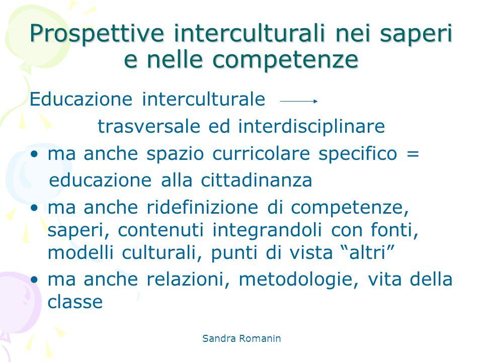 Sandra Romanin Prospettive interculturali nei saperi e nelle competenze Educazione interculturale trasversale ed interdisciplinare ma anche spazio cur