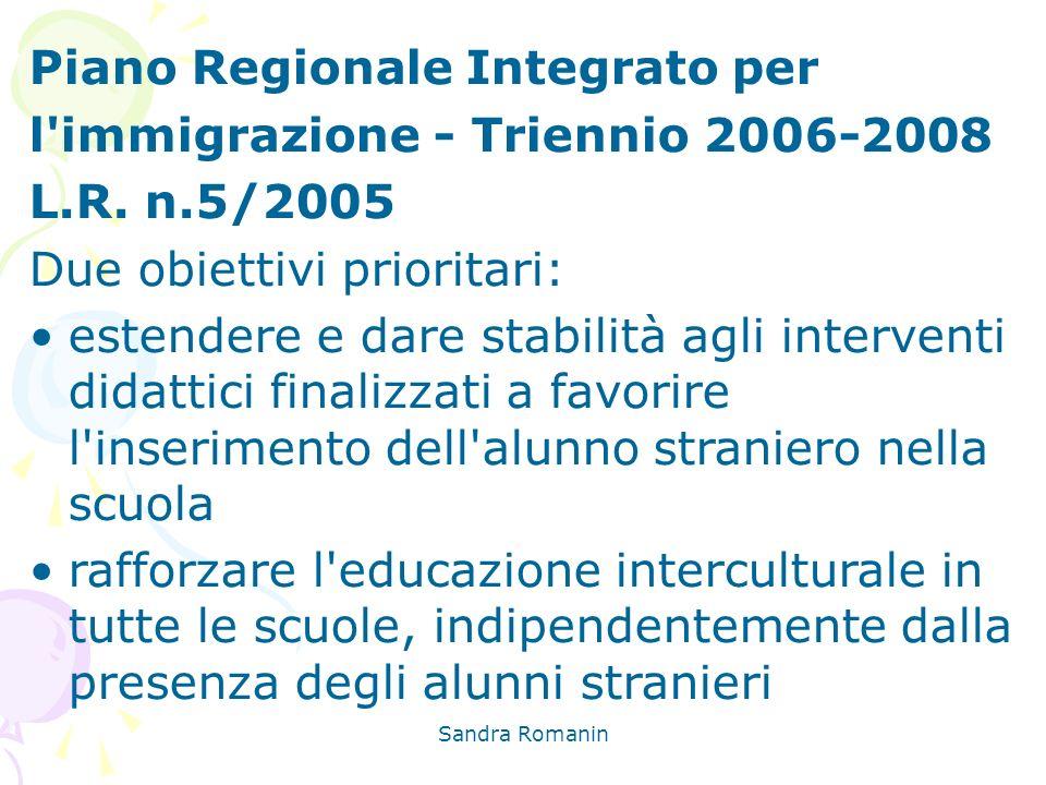 Sandra Romanin Piano Regionale Integrato per l'immigrazione - Triennio 2006-2008 L.R. n.5/2005 Due obiettivi prioritari: estendere e dare stabilità ag