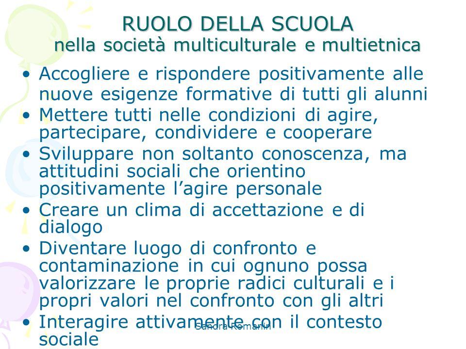 Sandra Romanin RUOLO DELLA SCUOLA nella società multiculturale e multietnica Accogliere e rispondere positivamente alle nuove esigenze formative di tu