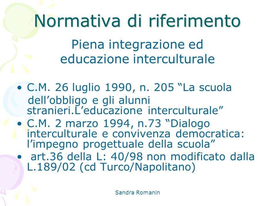 Sandra Romanin Normativa di riferimento Piena integrazione ed educazione interculturale C.M. 26 luglio 1990, n. 205 La scuola dellobbligo e gli alunni