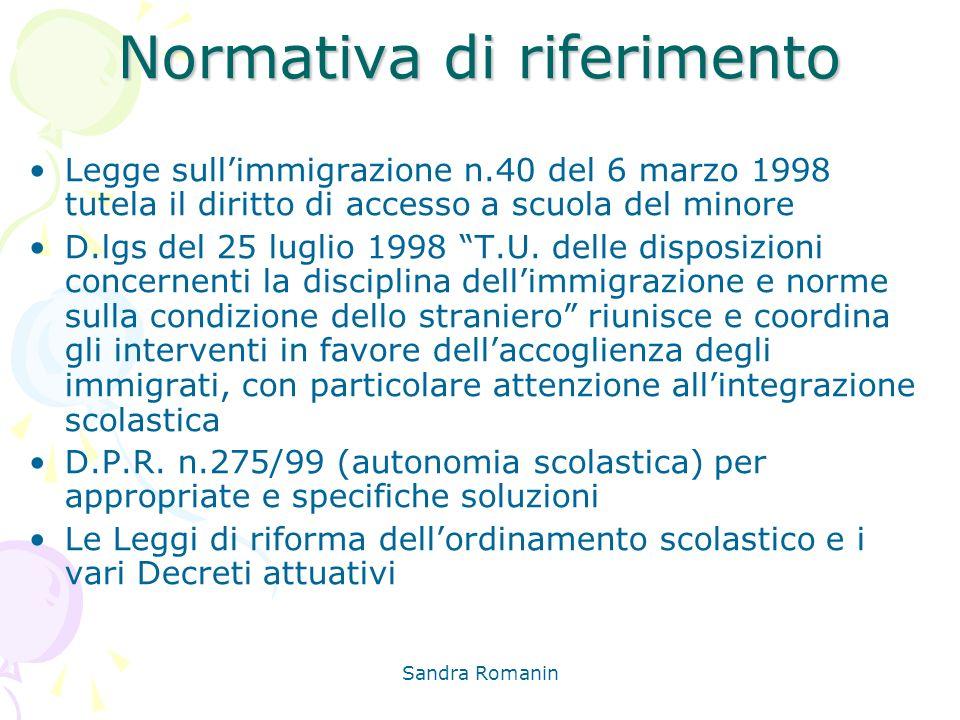 Sandra Romanin Normativa di riferimento Legge sullimmigrazione n.40 del 6 marzo 1998 tutela il diritto di accesso a scuola del minore D.lgs del 25 lug