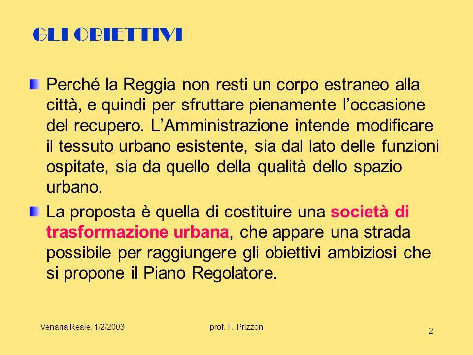 Venaria Reale, 1/2/2003prof. F. Prizzon 2 GLI OBIETTIVI Perché la Reggia non resti un corpo estraneo alla città, e quindi per sfruttare pienamente loc